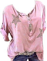 5727805d1621c6 WWricotta Damen Bluse V-Ausschnitt Locker Hemd Vintage Blusenshirt Lose  Casual Langarm Tunika…