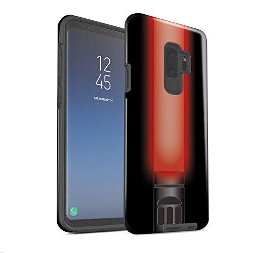 Stuff4® Glanz Harten Stoßfest Hülle/Case für Samsung Galaxy S9 Plus/G965 / Vader Sith Herr Rot Muster/Lightsaber Laserschwert ()