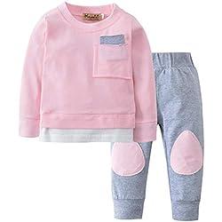 K-youth Ropa Bebe Niño Otoño Invierno 2018 Ofertas Infantil Pijama Recien Nacido Bebé Niña Sudaderas Manga Larga Camisetas Blusas + Pantalones Largos Conjuntos De Ropa(Rosa, 6-12 Meses)