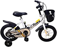 JGBABY Unisex Child RBY04 Kids Bicycle - White/Black, 12 Inch