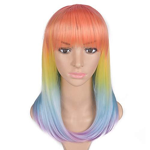 Perücke Dame Rainbow Color Gradient Lange Gerade Haare -