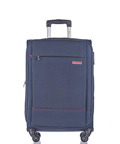 Koffer Reisekoffer Weichschalen Trolly Puccini Parma 3 Größen 4 Farben (Dunkelblau (7), Mittelgroß)