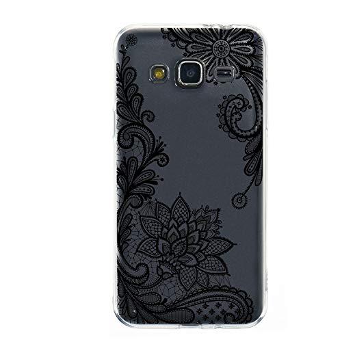 Miagon Galaxy J3 2016 Transparent Handyhülle,Silikon Hülle für Samsung J3 2016, Schön Kreativ Schwarz Blume Muster Weiche Silikon Schutzhülle für Samsung Galaxy J3 2016