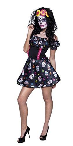 Fancy Ole - Damen Frauen Kostüm MRS. Day of the Dead- Minikleid- Totenkopf, Mehrfarbig, Größe M