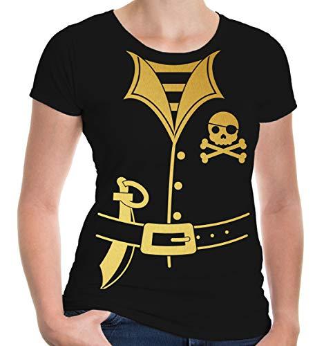 buXsbaum Girlie T-Shirt Pirate-Dress-XXL-Black-Gold