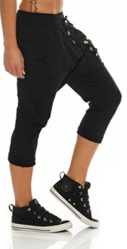 malito Damen kurze Hose mit Knopfleiste | Chino Hose in Unifarben | Baggy zum Tanzen | Sweatpants �?Trainingshose 8015 Schwarz
