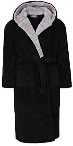 Bademantel für Herren aus Vlies mit Gürtel in den Größen von S bis XL Gr. XXL, schwarz / grau