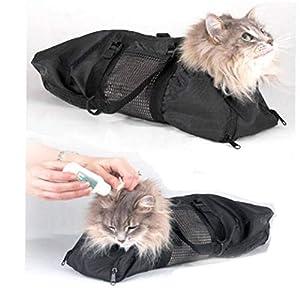 AYRSJCL Ajustable Malla Cat baño de la preparación de los Gatos Bolsa de Lavado empaqueta para Mascotas Baño Corte de uñas Inyectar rasguño Anti Bite Restricción 13