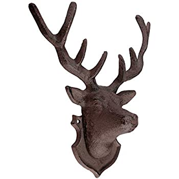Stags Head Homezone Vintage braun Gusseisen Hirsch Kopf oder Hunde Kopf Wand montiert Doppel Mantel Haken St/änder Wand Aufh/ängung Rustikale Haus oder Garten Dekoration Wand Skulptur