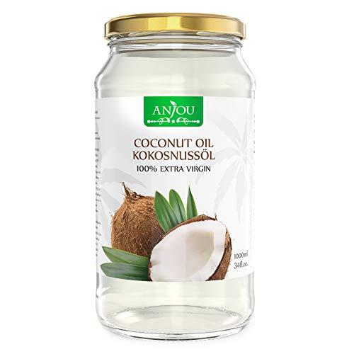 Anjou Kokosöl Naturbelassen Kaltgepresst und Nativ für Haare, Haut, Gesundheit