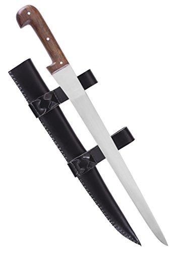 Battle-Merchant Einfaches Saxmesser mit Lederscheide lang - Handgeschmiedetes Sax - echt Dolch aus Metall für Erwachsene (Eisen-dolch)