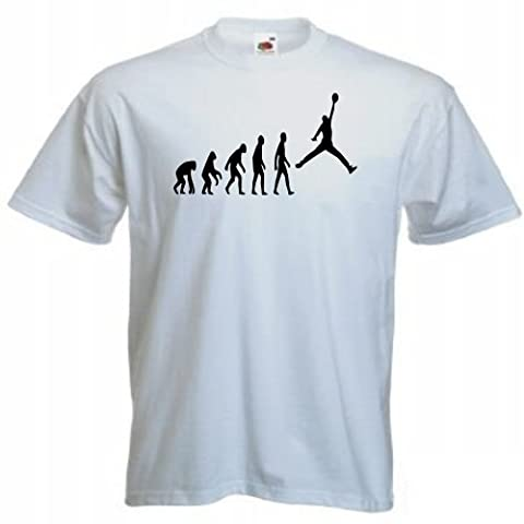 Evolution of man basketball T-shirt 86 - White - X-Large