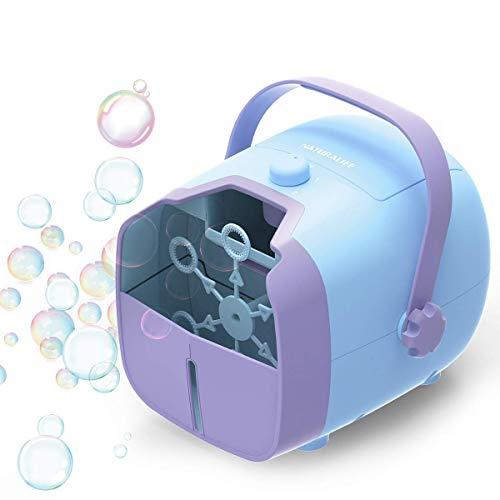 1 BY ONE Tragbare Seifenblasenmaschine, Bubble Machine, Batteriebetrieben und AC-Adapter Automatischer Blasmechanismus für den Außen- oder Innenbereich, Blau -