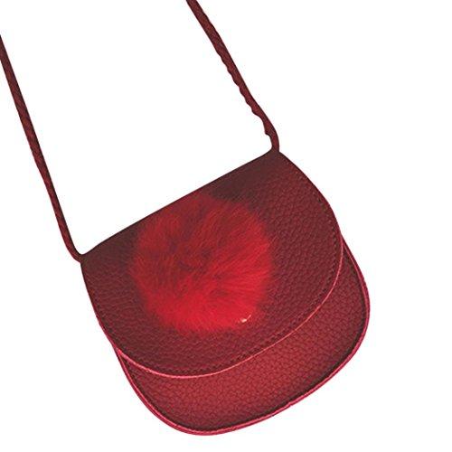 URSING Kinder Mädchen Tasche Niedlich Kindertasche Haarballen Handtasche Schultertasche Mini Crossbody Umhängetasche Festivaltasche Freizeittasche Ledertasche Kindergarten Babyrucksack (Rot)