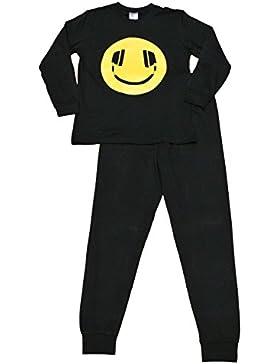 [Patrocinado]Pijama para niños de 11 a 16 años, con impresión de emoticono sonriente con auriculares, negro