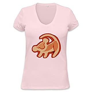Simba The Lion King Logo Womens V-neck T-shirt XX-Large