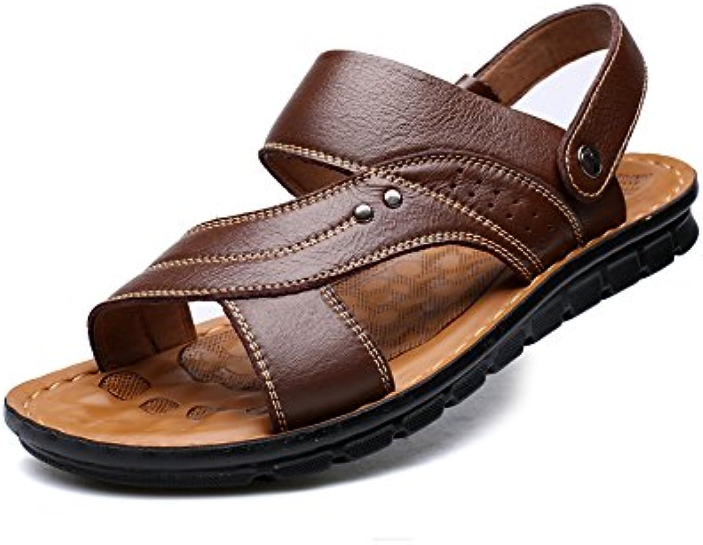 YQQ Männliche Sandalen Sommer Hausschuhe Für Herren Lässige Schuhe Strandschuhe Ledersandalen weissher Boden MassageEinlegesohle