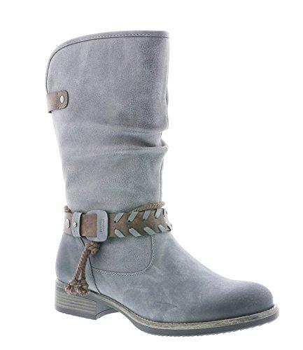 Rieker Damen Klassische Stiefel 98861,Frauen Boots,Schlüpf-Stiefel,Slip-On-Boot,Blockabsatz 3.3cm,Stahl/Stahl/testadimoro, EU 40 (Stiefel Damen Leder Cowboy)