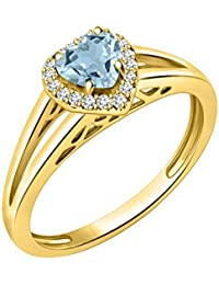 Silver Dew 925 Sterling Silver CZ Diamond Yellow Gold Plated Halo Heart Ring For Women & Girls