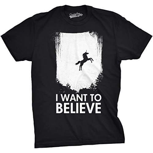 Crazy Horse T-shirt (Crazy Dog TShirts - I Want To Believe In Unicorns T Shirt Funny Magical Mythical Horse Tee (black) M - herren - M)