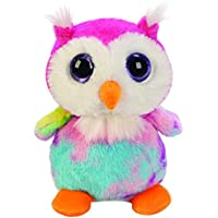 Suki Gifts Lil Peepers Fun Moonbeam Tie Dyed Owl Plush Toy with Silver Sparkle Accents (Small, Pink/White/Blue)
