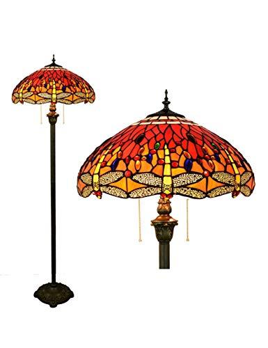 KCoob Rote Stehlampe mit Dragonfly Muster mit bunten Kristall für Wohnzimmer Vintage Barock Pull-Kette