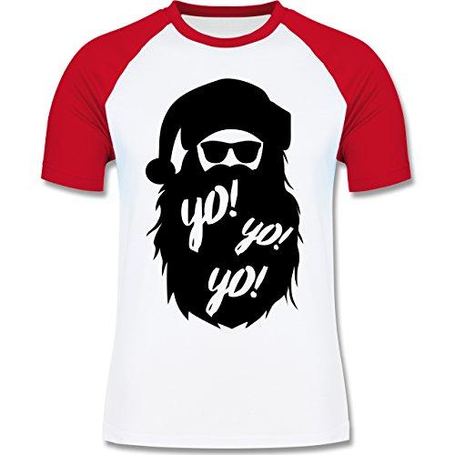 Weihnachten & Silvester - Yo Santa - zweifarbiges Baseballshirt für Männer Weiß/Rot