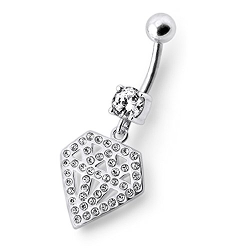 Bijou nombril pendant en argent sterling 925 Forme Diamant multi pierres Avec Banane 14Gx3/8(1.6x10MM) en acier chirurgical 316L et Boule 5MM. White