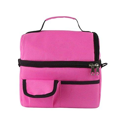 Fakeface borsa termica portapranzo, impermeabile, in tessuto oxford, per picnic/viaggio/campeggio/pasti/sport/scuola/lavoro/pranzo, unisex rosa scuro