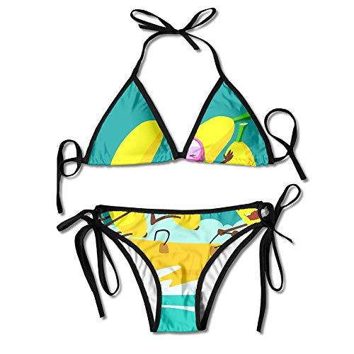 Bowling Material Bikini Women's Summer Swimwear Triangle Top Bikinis Swimsuit Sexy 2-Piece Set Scalloped Hängen