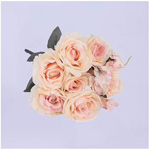 wcylj Gefälschte Blume 1 Bouquet Hochwertige Künstliche Blumen Rose Seidenblumen Für Zuhause Hochzeitsdekoration Geburtstagsfeier Dekorationen Erwachsene Champagner
