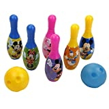 #2: Disney Bowling set packed in Box carry case for Children of age 3 to 8 years | Imported Premium Quality | Certified Safe as per European Safety Standards (EN71) | Sports development toys for Kids | Multi Color | Includes cute and attractive character ( Mickey, Minnie, Donald, Pluto ) print 6 pins and 2 balls?