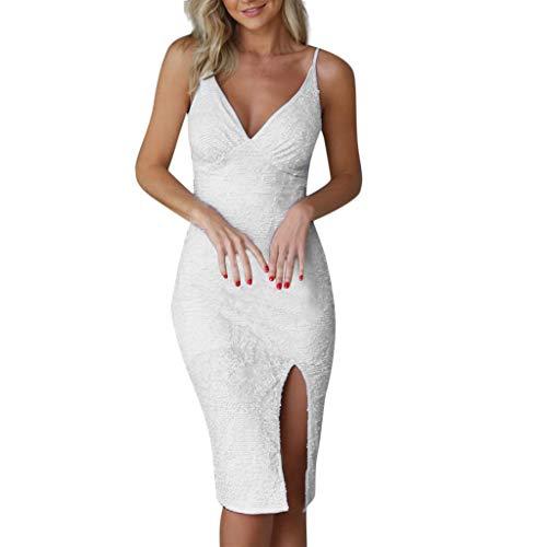 iYmitz Frauen Cocktailkleider Sommer Weiß Gurt Unregelmäßiges Kleid Pailletten Damen Besticktes Kleider(Weiß,EU-34/CN-S)