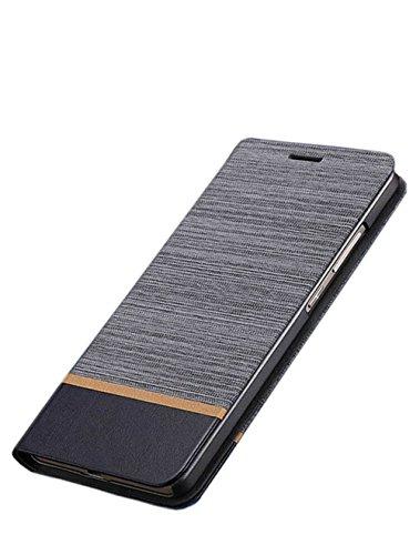 Cover Nokia 8, Ultra Slim fit, Cavalletto, Slot per scheda, TPU, Anti-graffio, Cassa Del Raccoglitore Dell'unità di Elaborazione Del Cuoio Di Vibrazione per Nokia 8 (grigio)