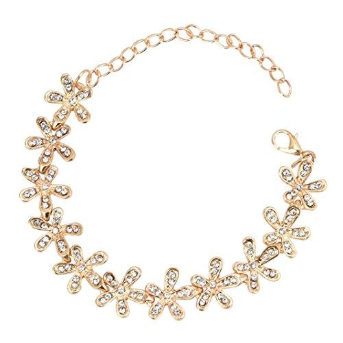 Malloom Femme élégant cristal flocon de neige Bracelet bijoux (Or)