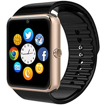 pcjob Smart Watch Bluetooth GT08 Android iOS con Fotocamera Lettore Musicale Slot Card SIM per Samsung Galaxy A10 A20 A30 A40 A50 A70 A80 S10 S10 Lite Plus Gold