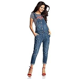 oodji Ultra Damen Jeans-Latzhose mit Knöpfen