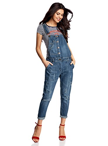 oodji Ultra Women's Button-Down Denim Jumpsuit