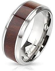 Paula & Fritz anillo de acero inoxidable plata 6/8 mm de ancho capa de madera y bordes redondeados anillo 47 (15) - tamaños 69 (22)