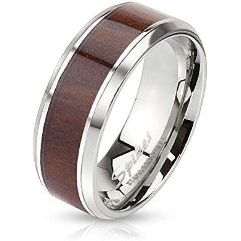 Paula & Fritz acero inoxidable Anillo Plata 6/8mm de ancho capa de madera y bordes redondeados anillo tamaños disponibles