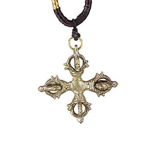 Romote 1pc Men es Edelstahl Vajra Cross tibetische buddhistische Talisman Pendant Halskette (reines Kupfer)