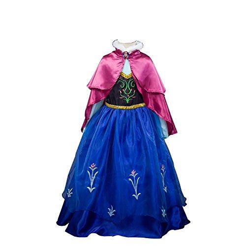 D'amelie Eiskönigin Prinzessin Kostüm Kinder Glanz Kleid Mädchen Weihnachten Verkleidung Karneval Party Halloween Fest (Anna Kostüm Einfach)