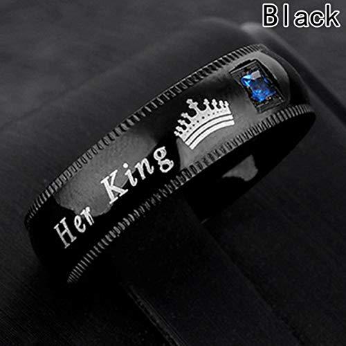 Ancjiape Neue Ringe aus Edelstahl Titan Paar Mode Echte Damen Praktischer Ring Persönlichkeit(None 7 Men's 7, Black.) (Damen Ringe Diamond Black 7 Größe)