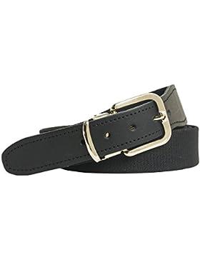 Shenky - Cinturón de tela elástico - Con piel en el extremo - 3 cm de ancho
