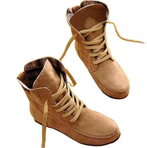 ANGATRADE  Botte SANGO, Bottine Souple, Bottine à Lacets, Botte femme MODE 2015, Bottine Automne-Printemps, Cuir PU,  Damen Hohe Schuhe Kaki