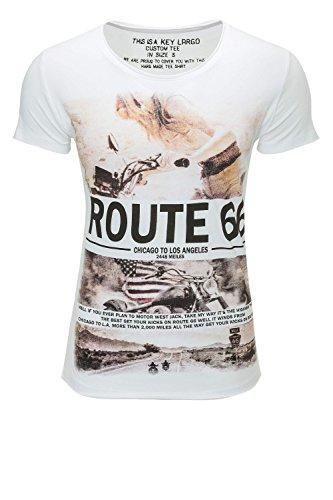 Key Largo Herren T-Shirt Kurzarmshirt Print Shirt O-Neck White