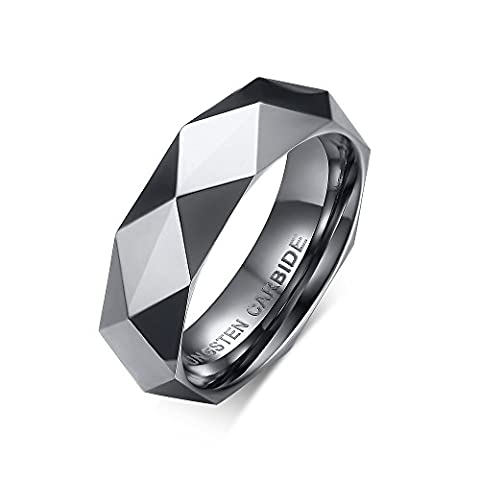 Vnox 6mm Mens Tungsten Carbide Wedding Band Faceted Triangle Cut Surface Engagement Ring Silver UK Size V 1/2