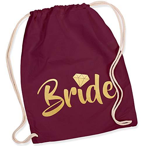 Shirt-Panda Turnbeutel JGA Team Bride/Team Bride mit Diamant Junggesellinnenabschied Team-Braut Tasche Rucksack Bride - Weinrot (Druck Gold)