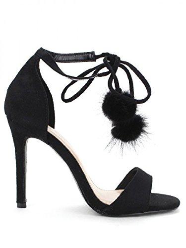 Cendriyon, Escarpin QUENN VIIVI Pompon Black Chaussures Femme Noir
