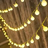 Globe Fairy Lights - LED String Lights,6M/60Leds Twinkle Waterproof Light String with Remote & 8 Modes Controller for Home Party Birthday Garden Bedroom Wedding Christmas Indoor Outdoor (Warm White)